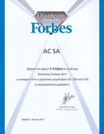 "The company has been awarded with the 2nd place among the ""Forbes Diamonds"" of t"