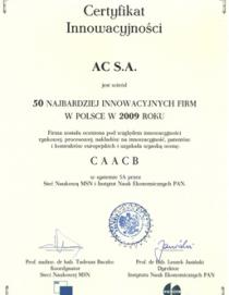 AC SA company – has been ranked 29th among the most innovative companies in Pola