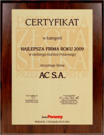 "1st place in the category of ""The most effective business management of 2009"" in"