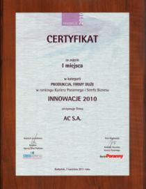 """""""Innovation 2010"""" in the category """"PRODUCTION - BIG COMPANY"""""""