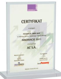 """""""Innovation 2011"""" in the category """"PRODUCTION - BIG COMPANY"""""""