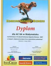 """Gepardy Biznesu 2007"""" distinction in the category of """"The Most Dynamic Company o"""